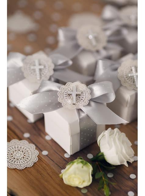 10 abanicos de papel decorativo blancas para mesa