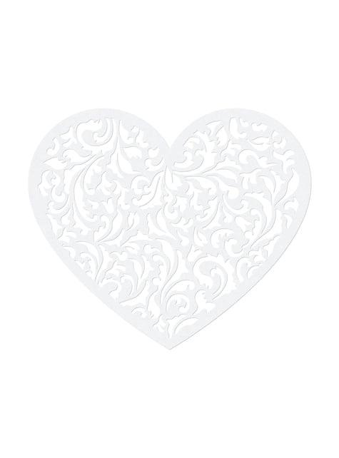 10 sydän pöytäkoristetta, valkoinen