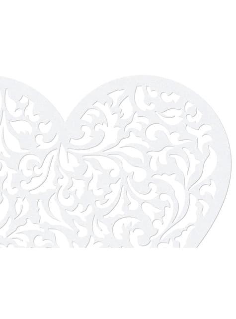 10  petits cœurs blanches pour la table