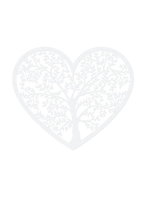 10 sydän & puu pöytäkoristetta, valkoinen