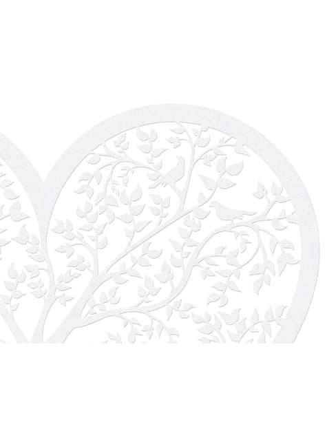 10 corazones blanco con árbol para mesa