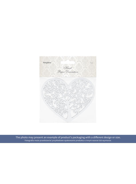 10 corazones blanco con árbol para mesa - barato