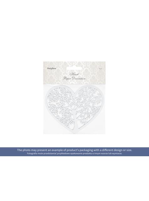 10 corazones blanco con árbol para mesa - para decorar todo durante tu fiesta