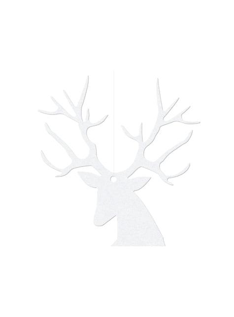 10 poronmuotoista pöytäkoristetta, valkoinen - Christmas