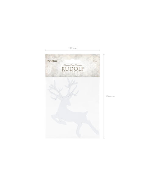 10 Reindeer Table Decorations, White - Christmas