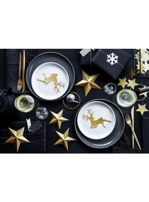 10 decoraciones para mesa doradas de reno - Christmas - barato