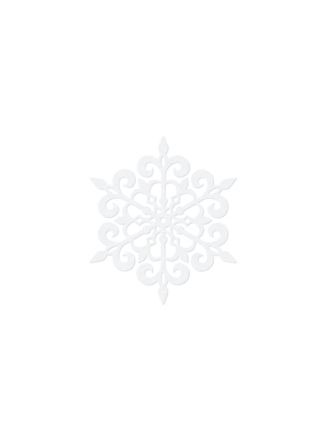 10 decoraciones para mesa blancas de copo de nieve redondo (9 cm) - Christmas