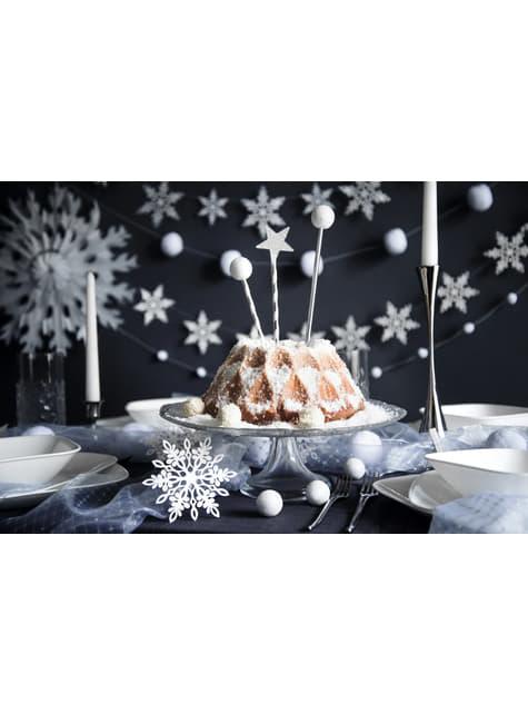 10 decoraciones para mesa blancas de copo de nieve con doble punta (11 cm)