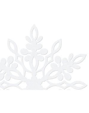 10 decoraciones para mesa blancas de copo de nieve con doble punta (13 cm)