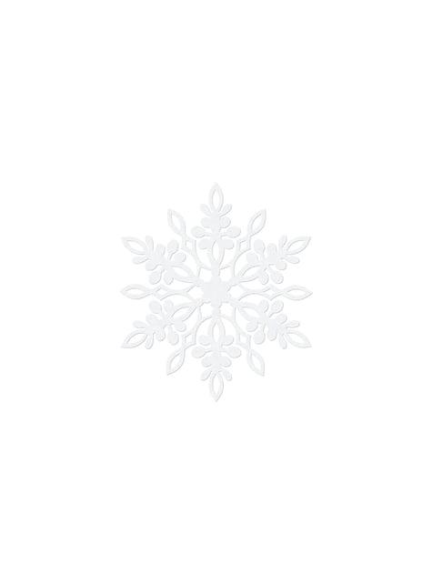 10 tuplalumihiutale pöytäkoristetta, valkoinen 9cm