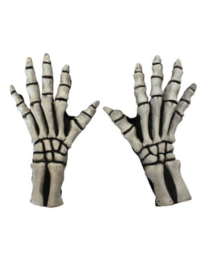 Lange Skelettfinger Handschuhe weiß