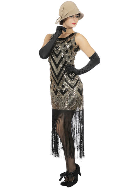 Disfraz de charlestón deslumbrante para mujer