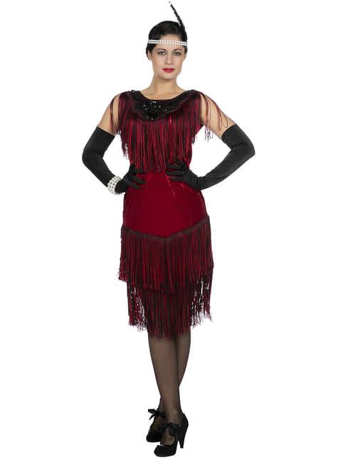 Rood jaren 20 Charleston kostuum voor vrouw