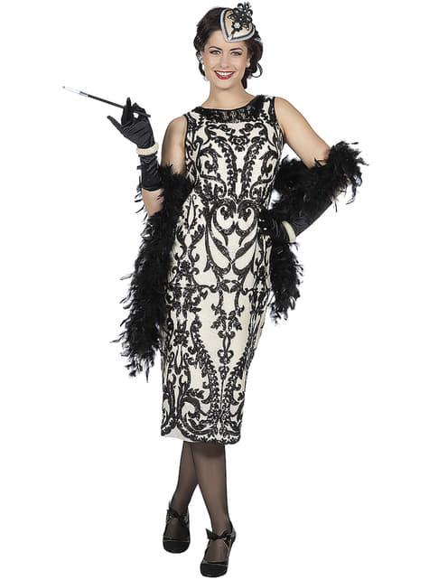 Zwart jaren 20 Charleston kostuum voor vrouw