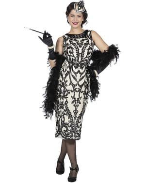 Czarny kostium Charleston lata 20. dla kobiet