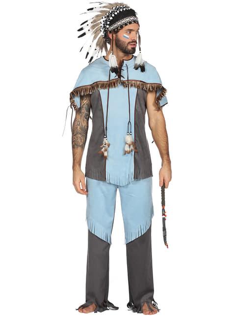 Disfraz de indio azul para hombre