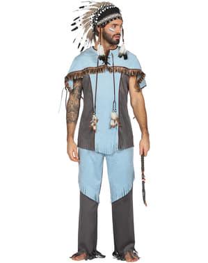 Costume da indiano azzurro da uomo