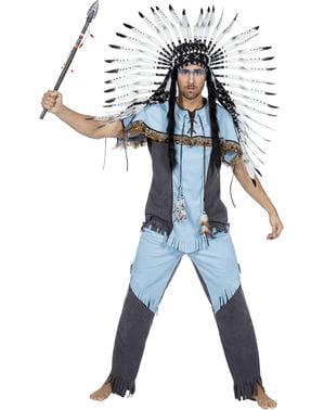 Fato de índio azul para homem