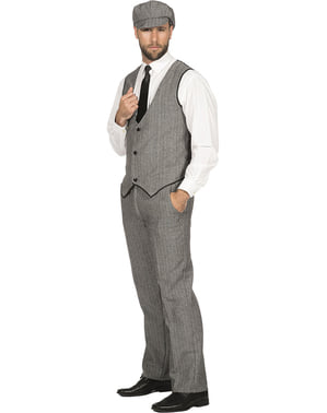 Disfraz de Gángster gris para hombre