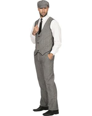 Ирландски гангстерски костюм за мъже в сиво