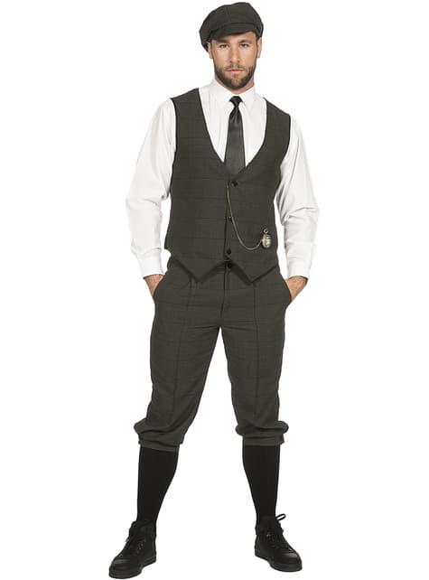 Elegant Irish Gangster Costume For Men in Grey