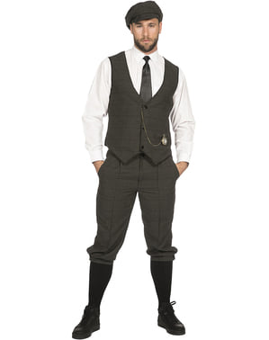 Disfraz de mafioso irlandés gris elegante para hombre