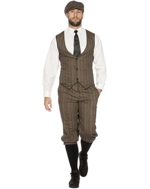 Ирландски гангстерски костюм за мъже в кафяво
