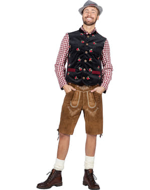 Oktoberfest Tyrolean Vest for Men in Black