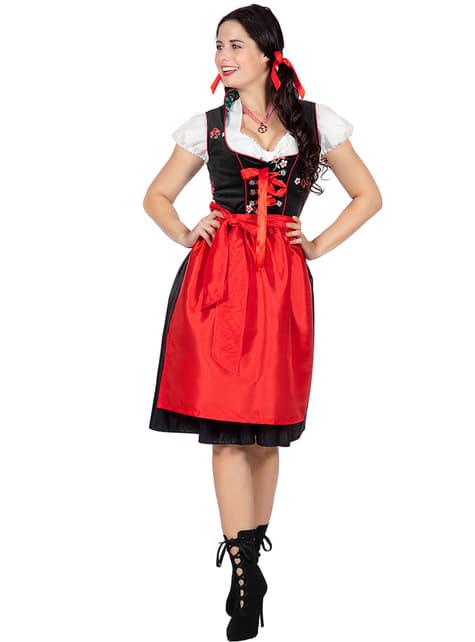 Disfraz de austriaca Oktoberfest rojo para mujer