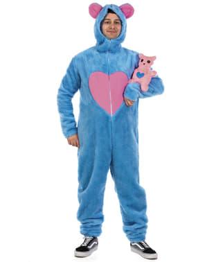 Fato de urso carinhoso azul para adulto