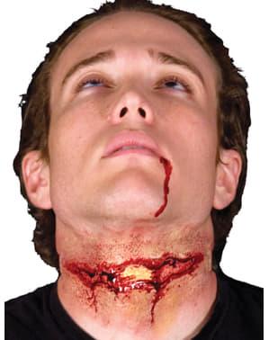 Hals med sår latexprotese