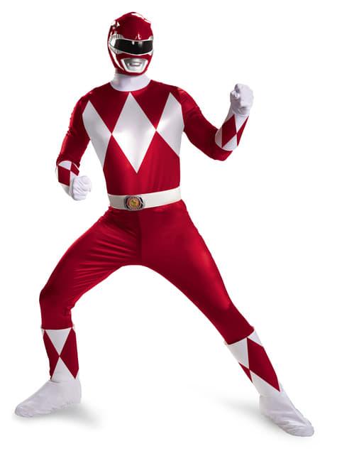 Fato de Power Ranger Mighty Morphin vermelho prestige para homem
