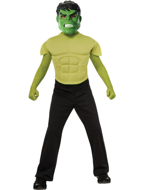 Kit fato de Hulk musculoso para menino