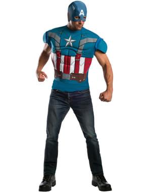 Fato de Capitão América do filme Capitão América: O Soldado do Inverno retro e musculoso para homem