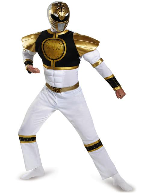 Fato de Power Ranger Mighty Morphin branco musculoso para adulto