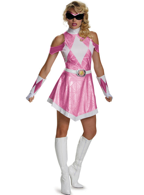 Vestido fato de Power Ranger Mighty Morphin cor-de-rosa para mulher