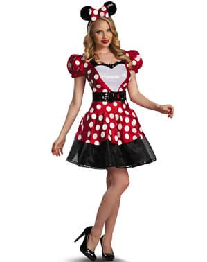 Fato de Minnie Mouse vermelho Glam para mulher