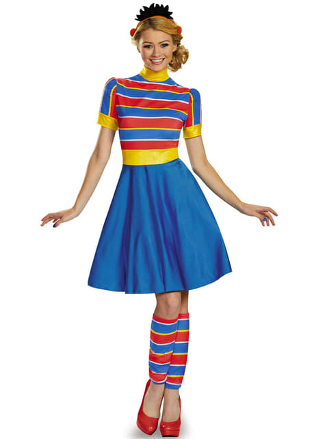 Womens Ernie Sesame Street Costume Dress with Hood