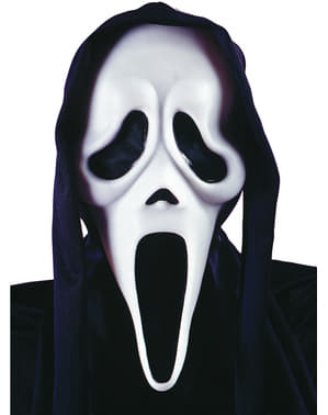Mască de fantomă Scream cu glugă