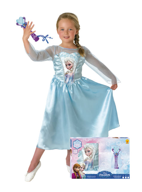 Gadis Elsa Frozen Kostum dengan Mikrofon di Kotak