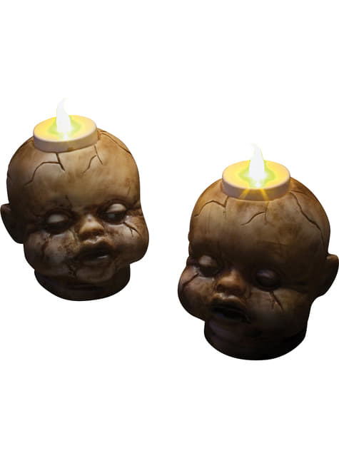 2 teste di pupazzi con candele (7 cm)