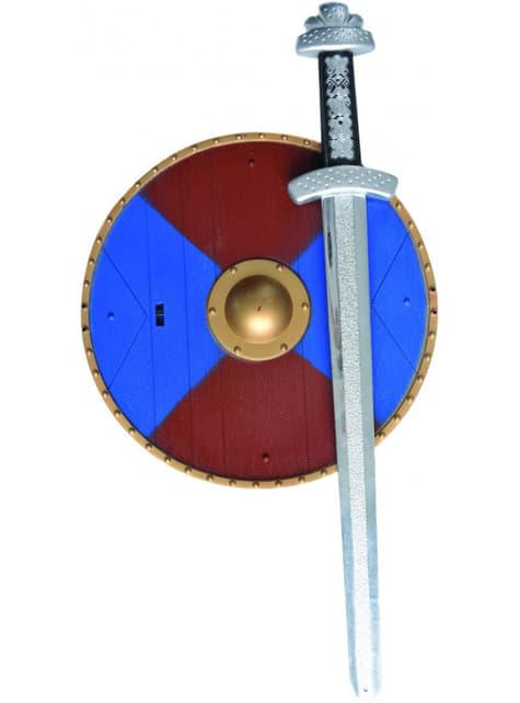 Conjunto medieval com espada e escudo