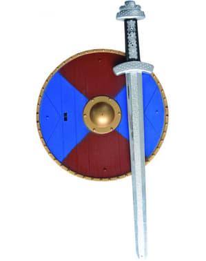Keskiaikainen miekka ja kilpi -setti