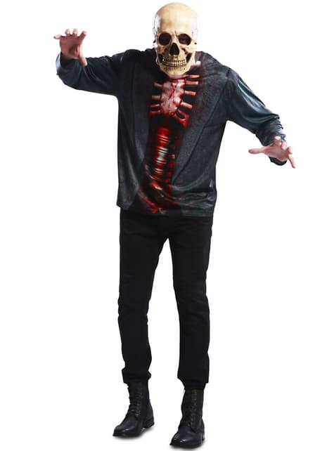 T-shirt squelette sanglant homme