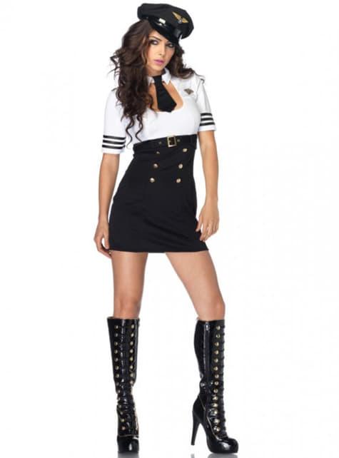 Disfraz de piloto de primera clase para mujer