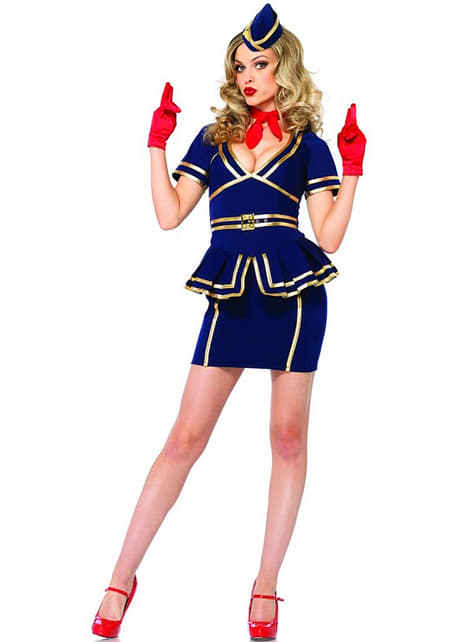 Disfraz de azafata de vuelo sexy para mujer