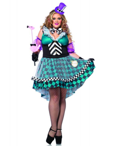 Verrückte Hutmacherin Kostüm für Damen Übergröße
