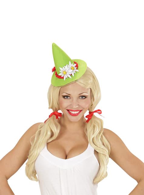 Mini sombrero bávaro verde con Edelweiss para hombre - para tu disfraz