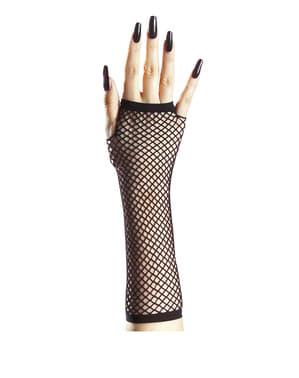 Женские перчатки в сеточку без пальцев