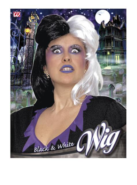 Peluca de color negro y blanco para mujer - para tu disfraz